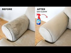How To Wash Upholstery Clean Fabric Couch, Clean Couch, Fabric Sofa, Clean Upholstery, Clean Clean, House Cleaning Tips, Diy Cleaning Products, Cleaning Hacks, Cleaning Recipes
