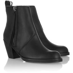 Acne The Pistol leather ankle boots (745 CAD) ❤ liked on Polyvore featuring shoes, boots, ankle booties, black high heel boots, black leather bootie, black booties, black ankle booties and black leather booties