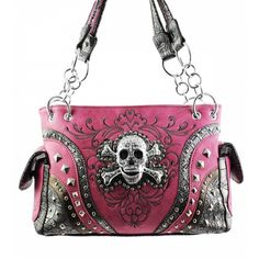 Handbags, Bling & More! Pink Skull Studded Conceal and Carry Purse : Conceal and Carry Purses
