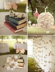 Scrabble, Crosswords, and Books. Cute idea for a shower. Don't think I'd like it for a wedding even if I were a librarian.