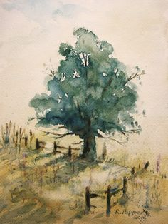 Landscape, Print of Original Watercolor Painting, tree artwork, summer painting tree field fence landscape archival print Watercolor Trees, Watercolor Landscape, Watercolour Painting, Watercolours, Landscape Prints, Landscape Paintings, Summer Painting, Tree Artwork, Pictures To Paint