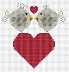 Punto croce Lots of adorable little cross stitch freebies. Cross Stitch Heart, Cross Stitch Animals, Cross Stitch Designs, Cross Stitch Patterns, Cross Stitching, Cross Stitch Embroidery, Beading Patterns, Embroidery Patterns, Bird Patterns
