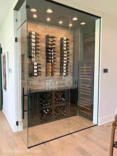 Luxury home tour -- part one! (And one of my favorites!) from Thrifty Decor Chick Wine Cellar Modern, Glass Wine Cellar, Home Wine Cellars, Wine Cellar Design, Cave A Vin Design, Casa Magna, Wine Display, Wine Wall, Wine Storage