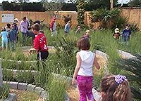 Children are drawn into the maze-like labyrinth
