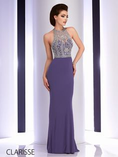 Long, tight fitted and elegant sparkly silver embellished prom dress by Clarisse. Style: 2807. Available in: Grey & Burgundy. Sizes: 00-16. http://clarisse.us/locator/index.php
