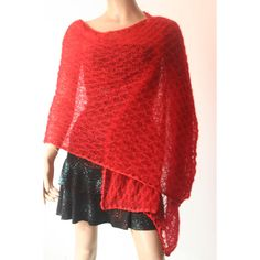 Red Bridal Shawl,Crochet Knit Shawl,Bridal Bolero,Knit Cape,Bridal... ($62) ❤ liked on Polyvore featuring outerwear, red shrug cardigan, red cape coat, crochet cape, red cape and shawl cape