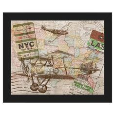 "Click Wall Art 'Map Frame Color: Black, Size: 22.5"" H x 26.5"" W x 1"" D"