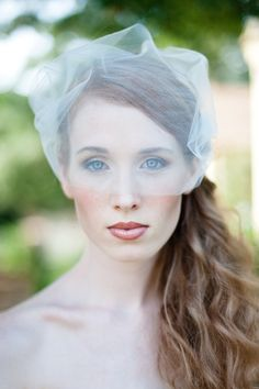 Bridal Birdcage Veil  Double Layer Tulle Bandeau Style in Matte Ivory or White. $39.50, via Etsy.