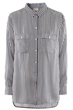 Black White Vertical Stripe Pockets Blouse