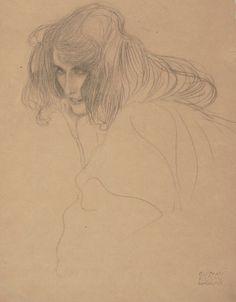 """Gustav Klimt - Weibliches Bildnis (Studie für """"Unkeuschheit"""", Beethovenfries, Wiener Secession), 1901, Schwarze Kreide, Albertina, Wien"""