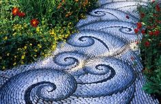 gpth.414 pebble mosaic path blue swirl