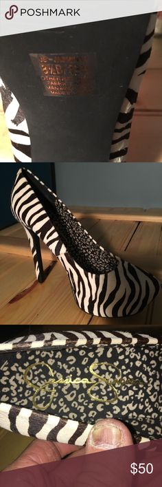 "Jessica Simpson Zebra Print ""Jasmint"" heels Jessica Simpson Zebra Print ""Jasmint"" heels Size 8-1/2 (38.5 eur) NEVER worn, still has the stickers on the sole Jessica Simpson Shoes Heels"