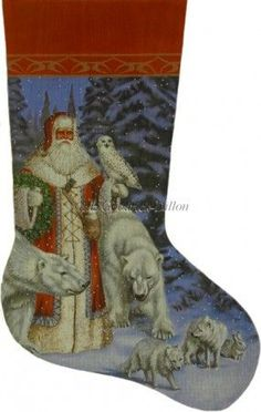 Arctic Coat Santa In Forest stocking painted canvas by Susan Roberts, Artwork by Liz Goodrick Dillon Size: High Mesh Count: 18 Embroidered Christmas Stockings, Cross Stitch Christmas Stockings, Cross Stitch Stocking, Needlepoint Stockings, Xmas Cross Stitch, Xmas Stockings, Needlepoint Canvases, Christmas Cross, Cross Stitching