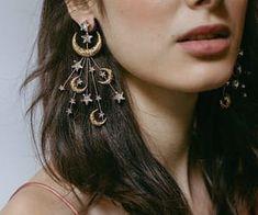 earrings, moon, and