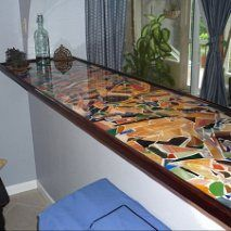 Cordwood countertop: Eastern red cedar slices, grout to ...