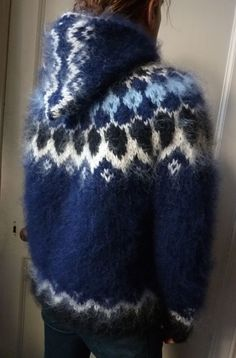 Handknitted chunky Icelandic mohair sweater in navy blue with hood unisex new #infiKnit #Jumpers