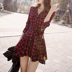 Women's Black Red Plaid Long Sleeved Turn-Down Collar #Dress