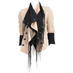 Demeulemeester Cream Linen Blazer with Black Fringe Beading ($950) ❤ liked on Polyvore featuring outerwear, jackets, blazers, cream blazer, cream jacket, beaded jacket, creme blazer and beaded blazer