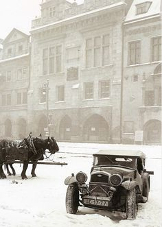 """firsttimeuser: """" Winter Prague by Z.Feyfar , his exhibition now in Prague """" Old Pictures, Old Photos, Vintage Photos, Heart Of Europe, Amazing Buildings, Adventures In Wonderland, History Photos, Capital City, Abandoned Places"""