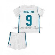 547914ec Billige Fotballdrakter Real Madrid Barn 2017-18 Karim Benzema 9 Hjemme  Draktsett Fotball Kortermet