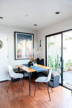 Apartment Therapy Feature - Heather KW Styles Amazing Home — Allison Richter Photography Ikea Dining, Farmhouse Dining Chairs, Dining Nook, Dinning Table, Ikea Breakfast, Breakfast Nook Bench, Small Space Kitchen, Small Kitchens, Dream Kitchens