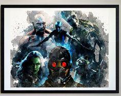 Guardians Of The Galaxy Prints #18, Crew, Groot, Gamora, Drax, Rocket, Prints, Marvel, Superhero Prints, Watercolor Art, Boys Home Decor