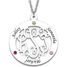 Monogrammed circle necklace with birthstones and kids names - love this!
