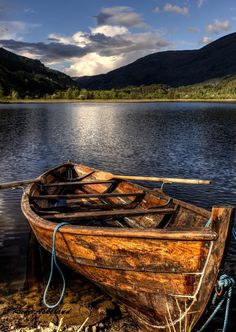 Old Boat, Lake Vangsvatnet, Vossevangen, Norway. Photo Rune Askeland on Old Boats, Small Boats, Landscape Photography, Nature Photography, Row Row Your Boat, Boat Art, Boat Painting, Boat Plans, Wooden Boats