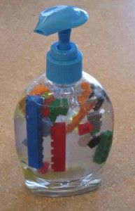 Put legos in hand soap (or barbie shoes!) to get them to wash their hands!