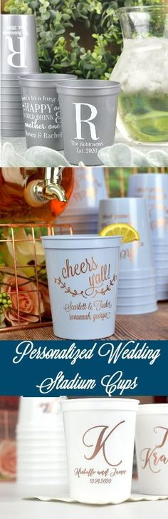 Personalized plastic stadium cups make fun and useful wedding reception and party drink cups guests can take home to reuse again and again, in memory of your special day.