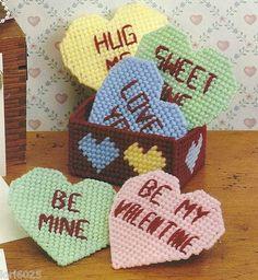 Valentine Conversation Heart Coaster Set Pattern Plastic Canvas Pattern | eBay
