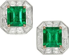 Colombian Emerald, Diamond, Platinum, Gold Earrings, Tiffany & Co. The Century earrings feature emerald-cut emeralds measuring 8.55 x 7.75 x 5.06 mm and 8.48 x 7.74 x 5.08 mm and weighing a total of approximately 4.26 carats, set in 18k gold, enhanced by baguette-cut diamonds weighing a total of approximately 4.10 carats, set in platinum, marked Tiffany & Co.