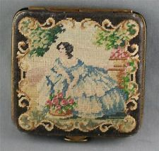 VINTAGE PETIT POINT COMPACT Lipstick Case, Lipstick Holder, Vintage Antiques, Vintage Items, Antique Clothing, Cosmetic Case, Vintage Beauty, Needlepoint, Compact