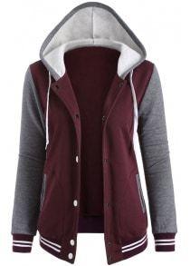 Contrast Sleeve Fleece Baseball Hoodie Jacket Giacche Da Baseball c73b0f5da8c