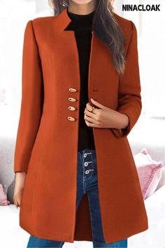 # NINACLOAK # woolen # casual / daily # fall/winter / spring # collarless # midi # brief # Blazer, Casual, Jackets, Coats, Western Outfits Women, Fabric, Shopping, Winter Springs, Fall Winter