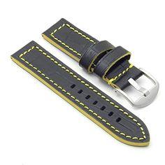 DASSARI Flash Leather Crocodile Print Watch Strap in Blac... £21.99