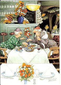 ...With friends at lunch. Grannies at Lunch. Inge Look Postcard 32