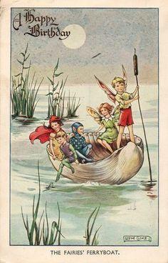 1940 Printed Postcard Artist Rene Cloke Fairies Ferryboat Sea Shell Boat