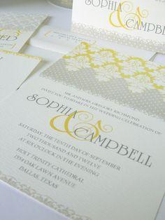 Gray and yellow wedding inviation, shabby chic wedding invitations, damask design on Etsy, $25.00