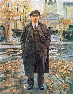Vladimir Lenin near Smolny - Isaak Brodsky - The Athenaeum Vladimir Lenin, Portrait Art, Portraits, Lion Book, Propaganda Art, Russian Revolution, Socialist Realism, Russian Painting, Soviet Art