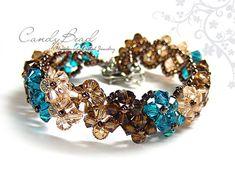 Swarovski Crystal Bracelet, Brown and Teal Crystal Bracelet by CandyBead