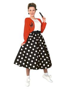 Find poodle skirts and poodle skirt costumes for sale online. Learn the history of vintage poodle skirts and get poodle skirt outfit ideas. Sock Hop Costumes, Modest Halloween Costumes, Grease Costumes, Wholesale Halloween Costumes, Halloween Kostüm, Girl Costumes, Adult Costumes, Costumes For Women, 1950s Costumes