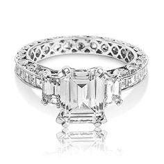 Tacori Platinum 3-Stone Diamond Engagement Ring Setting with Emerald CZ Center, 2 ct TDW - http://www.jewelryfashionlife.com/tacori-platinum-3-stone-diamond-engagement-ring-setting-with-emerald-cz-center-2-ct-tdw/