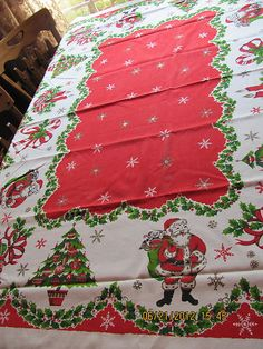 Vintage 1950's Christmas Tablecloth Cotton Fabric  Santa, Bells Tree, Candy Cane