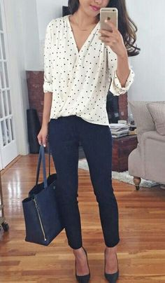 business casual office outfit idea: wrap polka dot blouse + navy ankle pants for work . I like this outfit but usually shy away from polka dots because it can be too sweet and I need to get away from the little girl look Casual Office Attire, Casual Work Outfits, Work Casual, Easy Outfits, Casual Fall, Stylish Office, Summer Work Outfits Office, Outfit Office, Office Chic