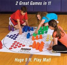 "Jumbo Chinese Checkers Game - This oversize version of the classic chinese checkers game features a giant colorful 5' square vinyl playing mat and uses 3-3/4""H x 3"" diameter multi-use plastic cups as playing pieces. Includes 6 different colored sets of 12 cups and a handy drawstring storage bag."