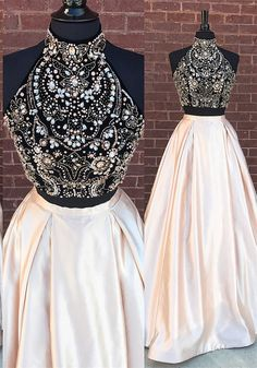 On Sale Luxurious Prom Dresses Long, 2019 Two Piece Prom Dress Beautidul Pink Long Prom Dress Prom Dresses With Pockets, A Line Prom Dresses, Grad Dresses, Cheap Bridesmaid Dresses, Homecoming Dresses, Sexy Dresses, Formal Dresses, Dress Prom, Party Dress