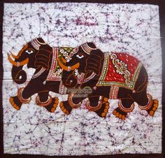 Indian two elephant running batik painting cotton fabric wall hanging tapestry… Indian Elephant, Elephant Art, Indian Crafts, Indian Art, Asian Fabric, Fabric Art, Cotton Fabric, Batik Prints, Handmade Home Decor