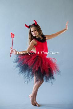 Black Red Pixie Tutu - Girls Size 3 6 9 12 18 Months 2T 3T 4T 5T 6 7 8 10 12 Adult - Little Girls Devil Halloween Costume - Teen Tween Skirt by OnceUponATimeTuTus on Etsy