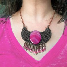 Crochet tribal necklace Native inspired statement necklace Agate Necklace, Tribal Necklace, Crochet Necklace, Lilac, Purple, Lavender, Pink, Neck Piece, Tribal Fashion